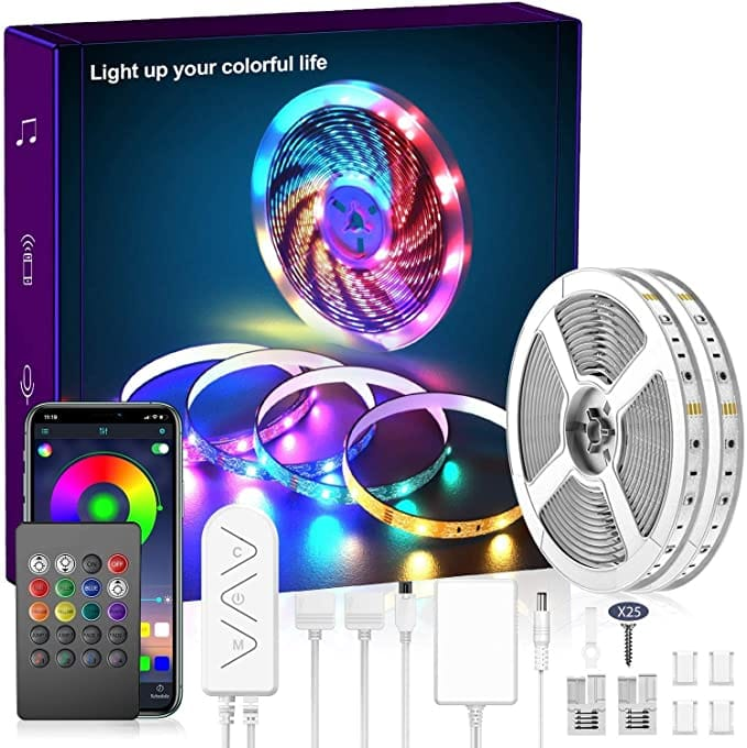 Micomlan 80ft Music Sync Color Changing LED Strip Lights with Built-in Mic $21.99 + FS