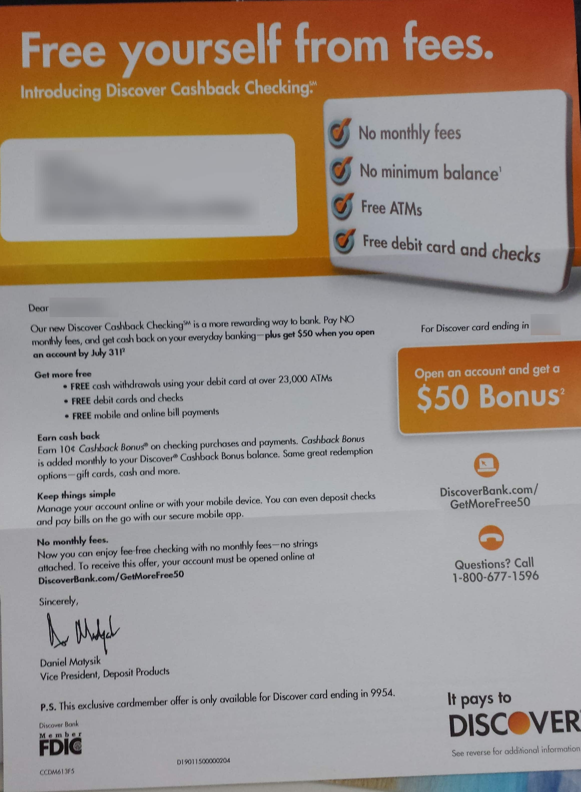 $50 bonus for new Discover Cashback checking account *For Discover Card Member Only*