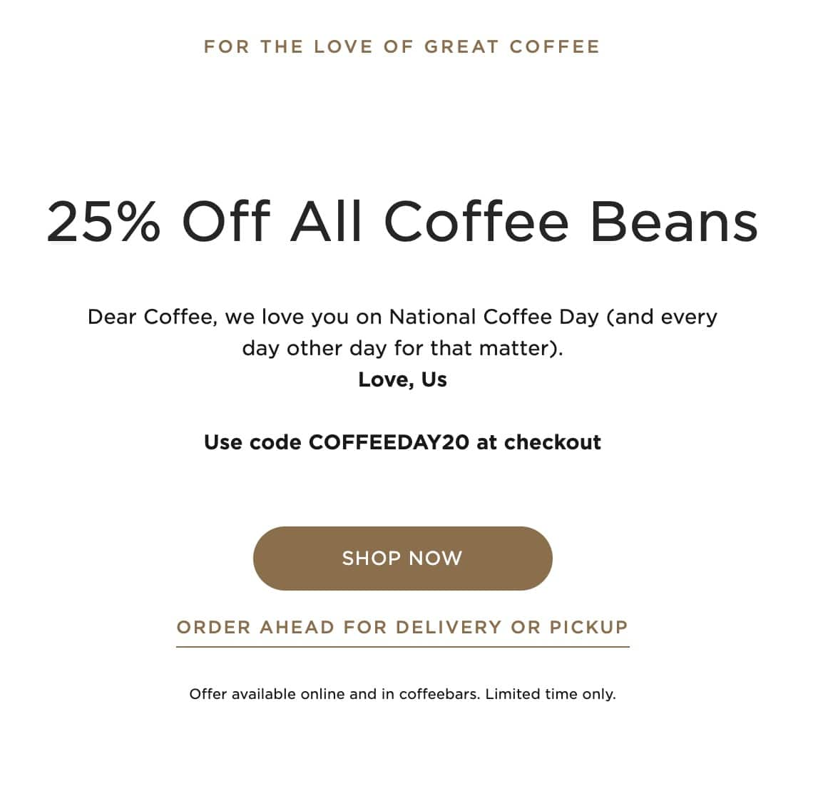 Peet's Coffee 25% off all coffee beans for National Coffee Day