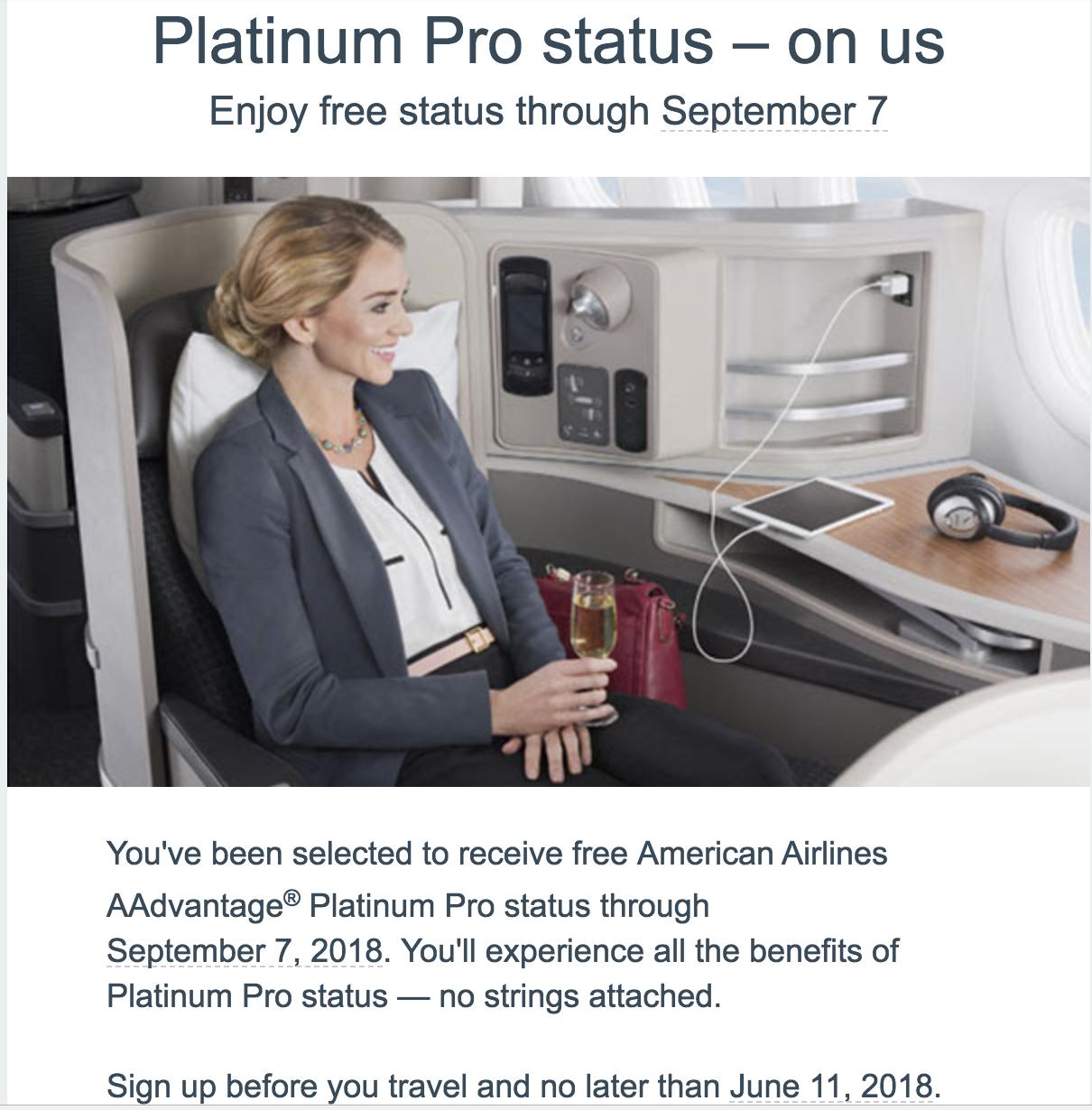 Free Platinum Pro Status until 9/7 on American Airlines AAdvantage YMMV