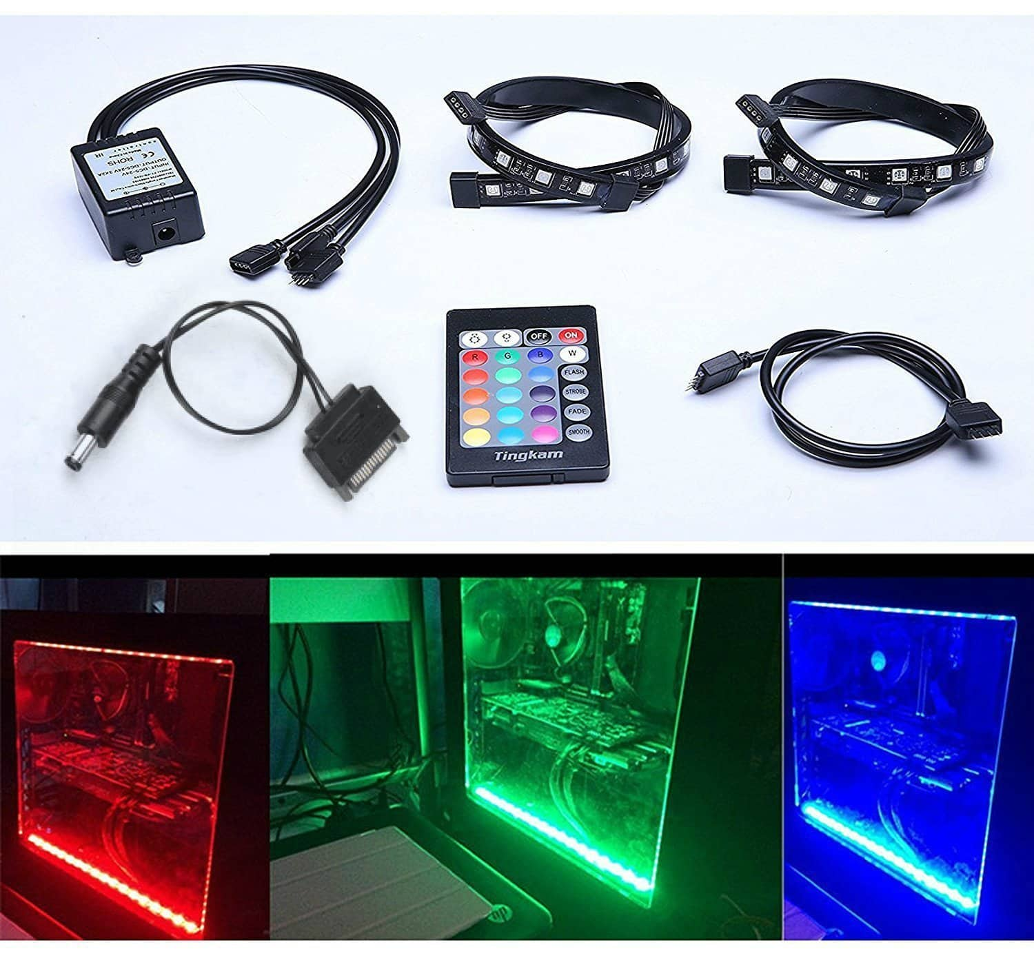 Full Kit RGB 5050 SMD 2pcs 18leds 30cm LED Strip Light Attached to Your PC Case for $14.99 @ Amazon