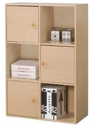 Furinno 11189 Pasir 3-Tier Shelf with 3 Doors with Round Handle for $28.99 @walmart