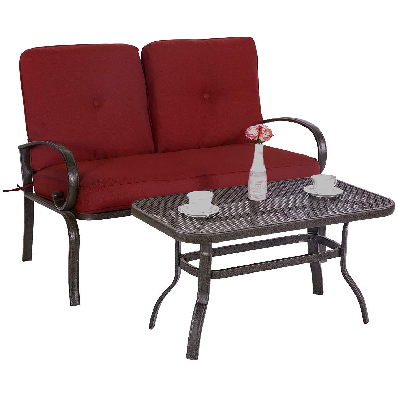 Cloud Mountain Patio Loveseat Outdoor 2 PCs Loveseat Furniture Set for $183.59 @ Amazon