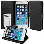iPhone 6 Case, Abacus24-7 [Book Fold] Apple iPhone 6 Wallet Case Leather Flip Cover with Stand - Black