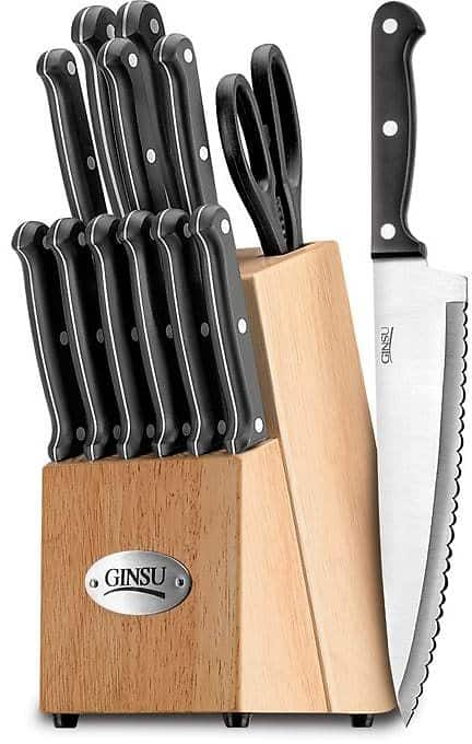 Ginsu Essential Series 14-piece Stainless Steel Serrated Knife Set Cutlery Set with Black Kitchen Knives in a Natural Block for $51.99 @overstock