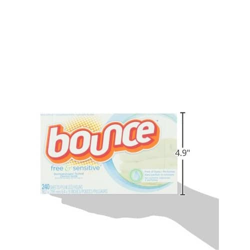 Amazon- Bounce Fabric Softener Sheets, Free & Gentle, 240 Count $9.49 ($0.04 / Count)