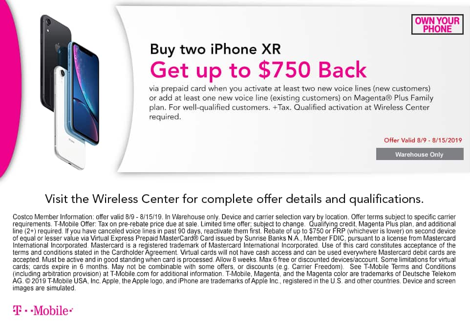 Costco In-Store Offer: T-Mobile iPhone XR BOGO - Get up to $750 (Rebate) - New Line Required
