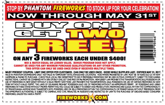 Buy one, get Two free @ Phantom Fireworks (Use on any item under $400)