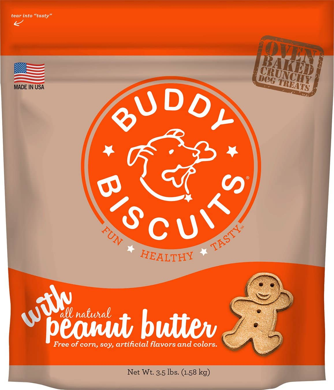 Buddy Biscuits Original Oven Baked with Peanut Butter Dog Treats - 3.5lbs $3.45