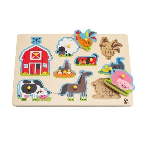 Hape Farm Animals Toddler Wooden Peg Puzzle $6.54 add-on item @amazon