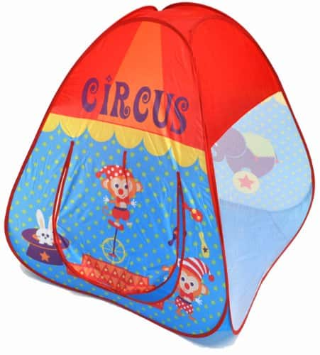 Circus Theme Twist Play Tent House for Kids w/ Safety Meshing for Child Visibility & Tote Bag $7