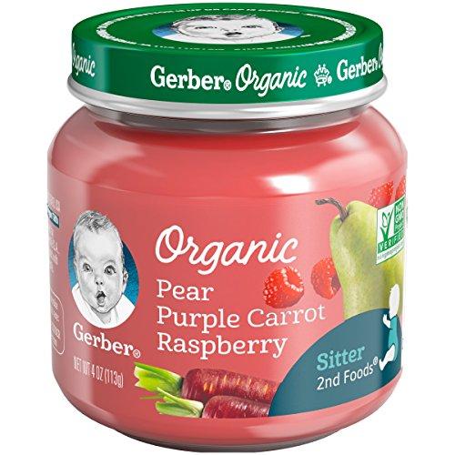 Gerber Purees Organic 2nd Foods Pear Purple Carrot Raspberry Baby Food Glass Jar, 4 oz $0.01