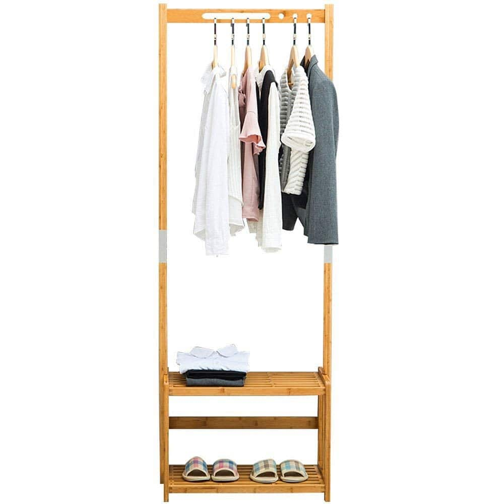 NNEWVANTE Coat Rack Bench Shoes Rack Hallway Hall Tree Organizer 2 Tiers Shelves Storage Rack Entryway-2 color $37.49
