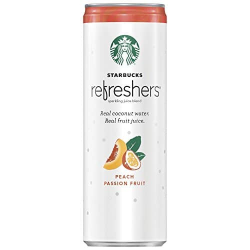 Starbucks Refreshers Sparkling Juice Blends, Peach Passion Fruit with Coconut Water, 12 Ounce, 12 Cans [Peach Passion Fruit] $12.57