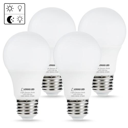 LOHAS 4-Pack A19 6W Warm White (2700K) E26 LED Sensor Bulb $17.99 @Amazon