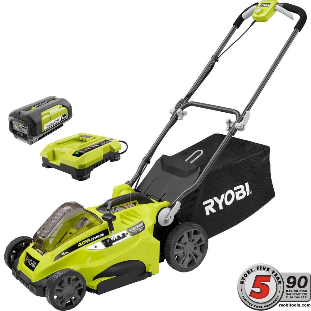 Home Depot: Ryobi 16 in. 40V Cordless Lawn Mower with 4.0 Ah Battery and Charger $199.99