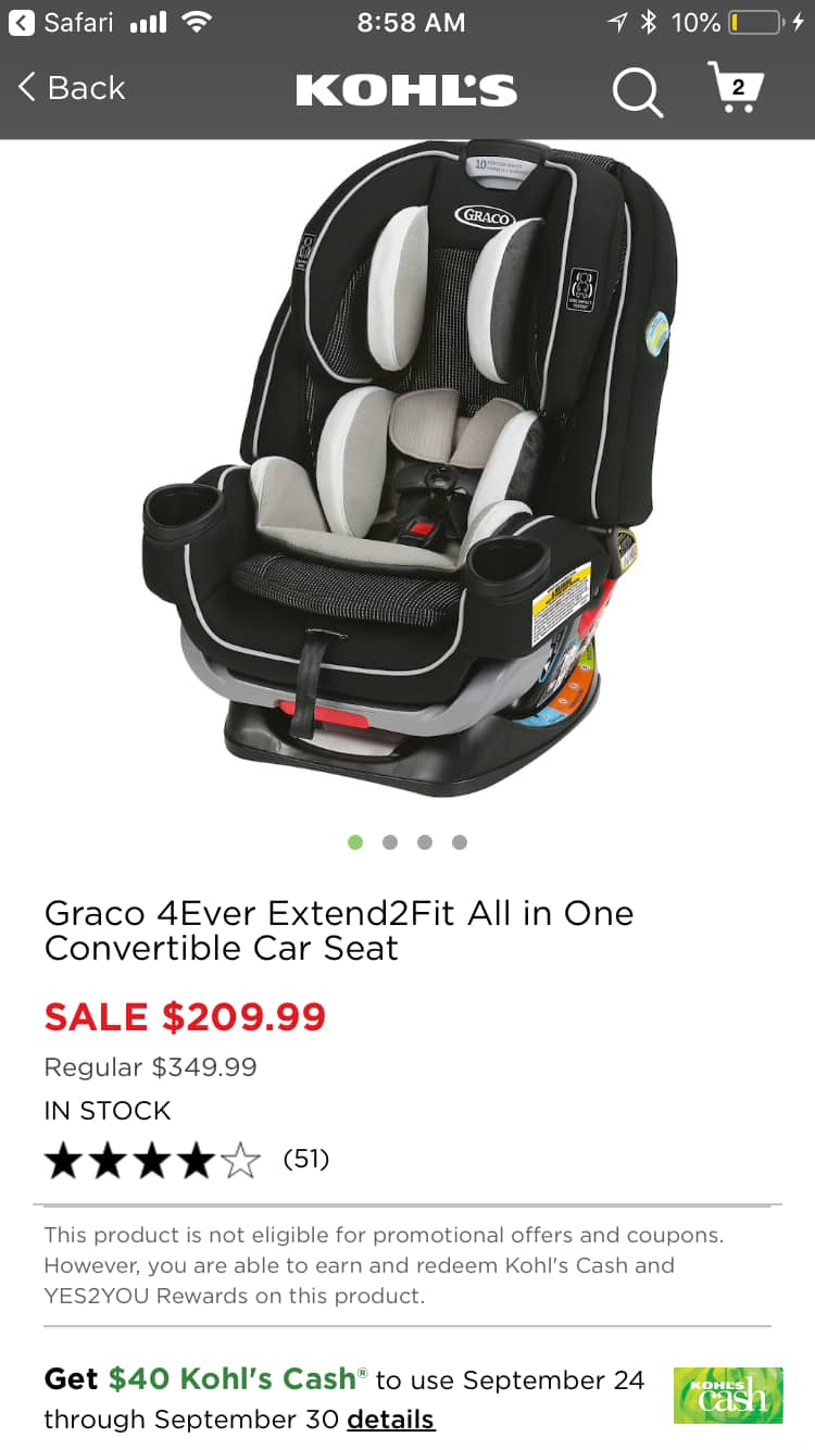 Kohl's: 40% Off All Graco 4Ever Extend2Fit Convertible Car Seat $209.99