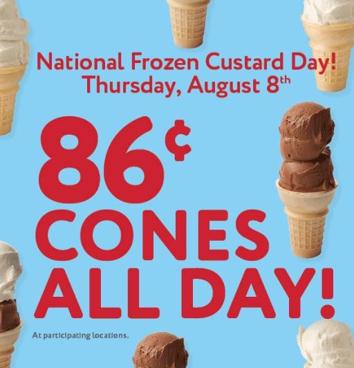 Frozen Custard Cones Today Only $0.86