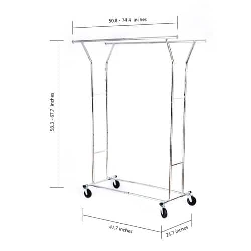 Adjustable Clothing Rack Double Rod with wheels for $39.99 AC + FS