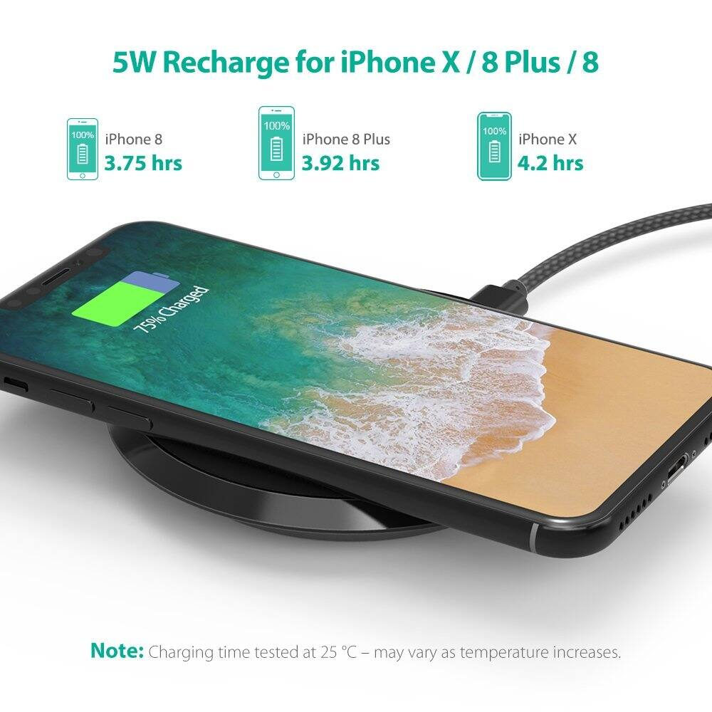 Wireless Charger RAVPower Standard QI Wireless Charging Pad for iPhone X / 8 / 8 Plus 10W Fast Wireless Charge $13.49