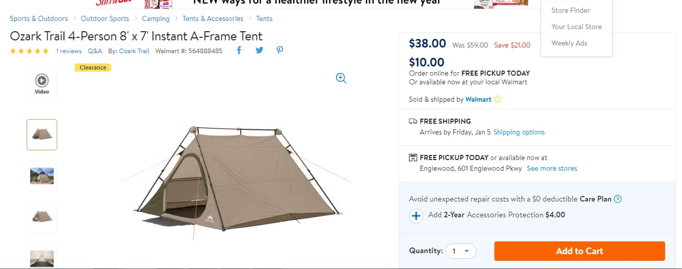 Ozark Trail 4-Person 8' x 7' Instant A-Frame Tent $38 online, $10 to $35 instore YMMV