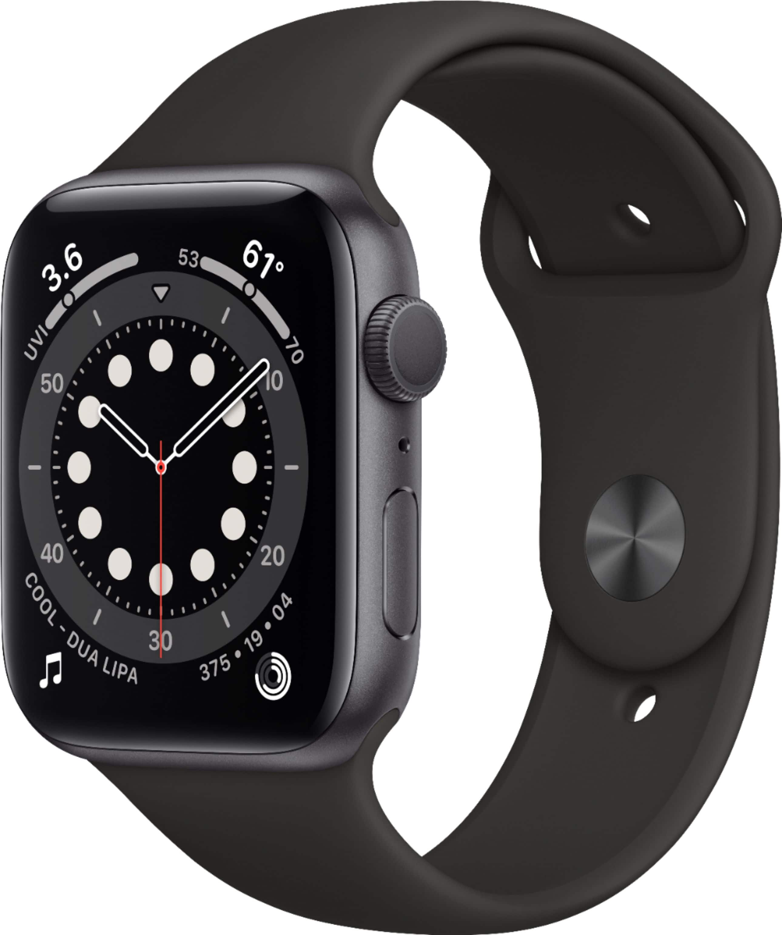 Apple Watch Series 6 (GPS) 44mm Space Gray Aluminum Case with Black Sport Band Space Gray M00H3LL/A - Best Buy $359