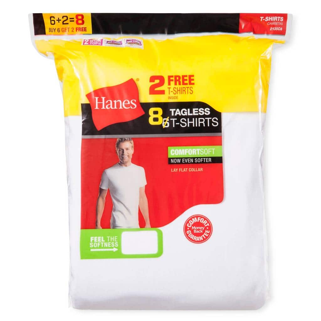 16 Hanes Tagless White Men's Crew Tee or V-Neck T-Shirts - $17.53 Or Less