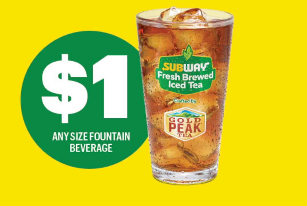 Stay Cool w/ SUBWAY's $1 ANY size fountain beverage
