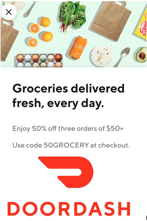 DoorDash: Invitation YMMV 50% OFF 3 Grocery Orders (July-Aug 2021)