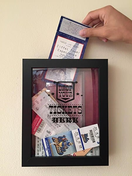 Amazon Lightning Deal - $21.59 Ticket Shadow Box -Ticket Stub Storage - Large Slot on Top of Frame - Memory Box Storage for Any Size Tickets.
