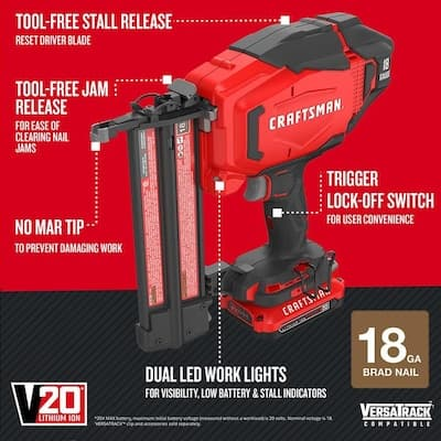 CRAFTSMAN V20 2-in 18-Gauge Brad Nailer $179