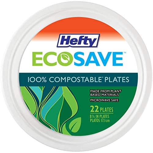 """22-Count 8-3/4"""" Hefty Ecosave 100% Compostable Paper Plates $2.09 + Free Shipping w/ Prime or on orders over $25"""
