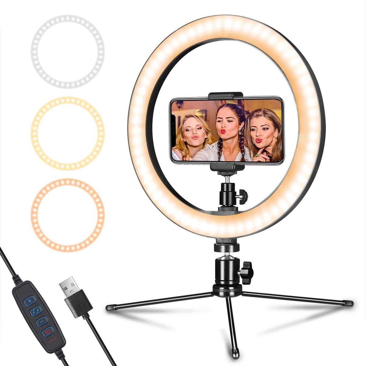 "10"" LED Selfie Ring Light w/ Tripod Stand and Cellphone Holder $22.07 + Free Shipping w/ Prime or on $25+"