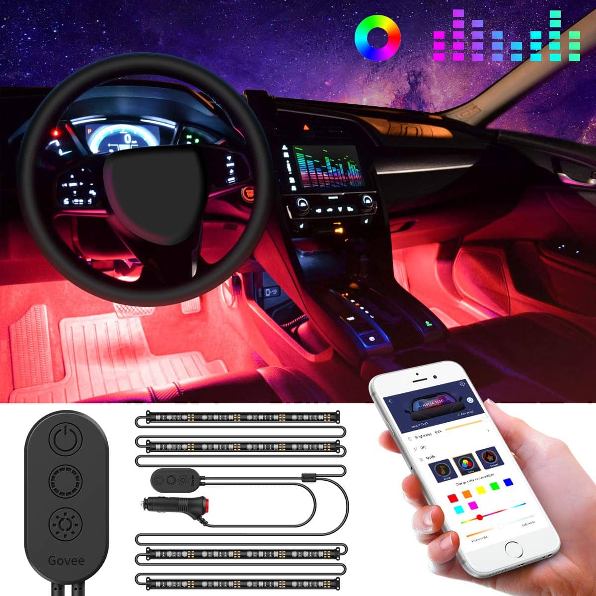 4-Piece Govee 48 LED Interior Car Lights w/ DC 12V Car Charger $20 + Free Shipping w/ Prime or on $25+