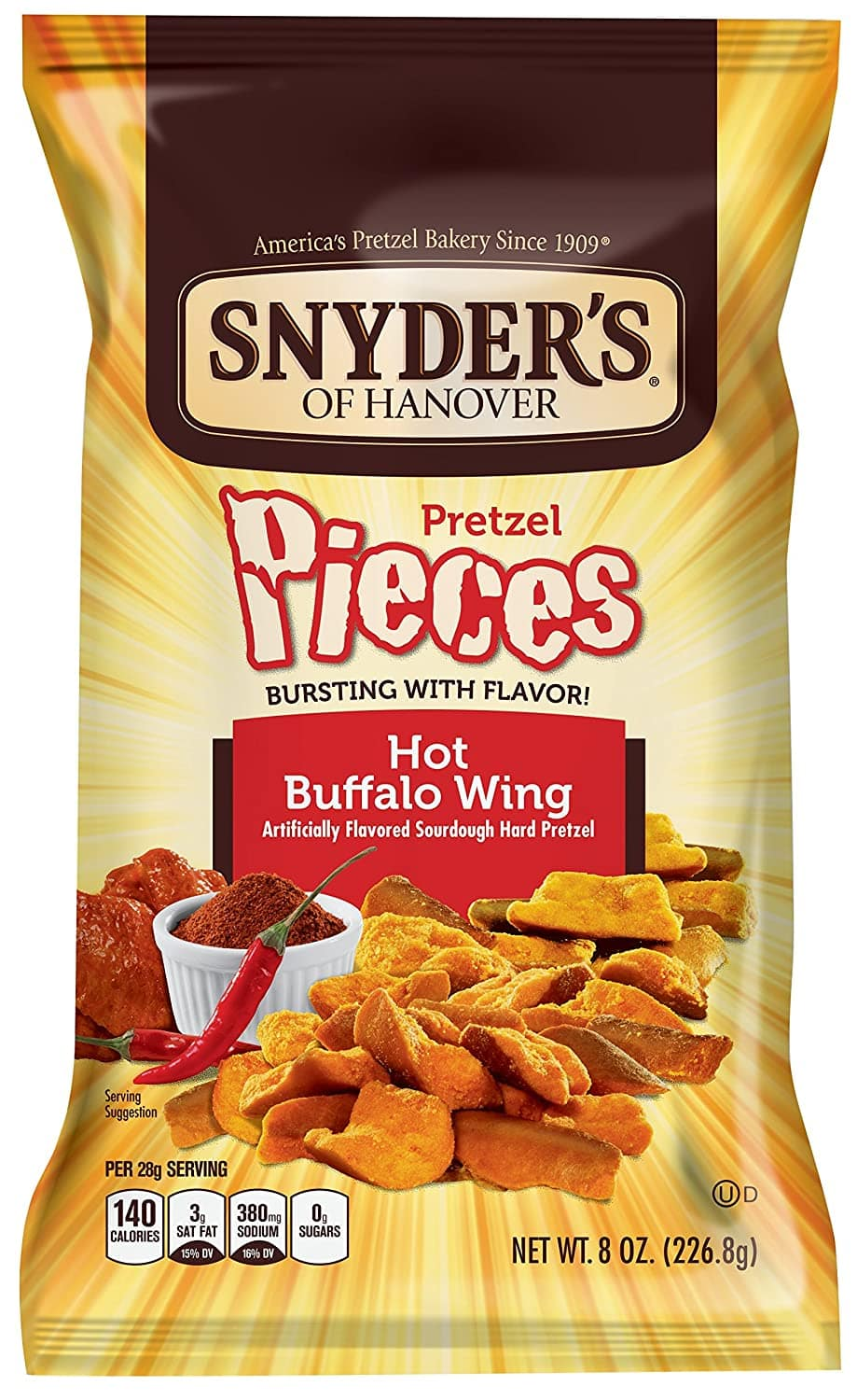 6-Pack 8-oz Snyder's Hanover Pretzel Pieces (Hot Buffalo Wing) $9 ($1.50 each)  w/ S&S + Free Shipping w/ Prime or on orders over $25