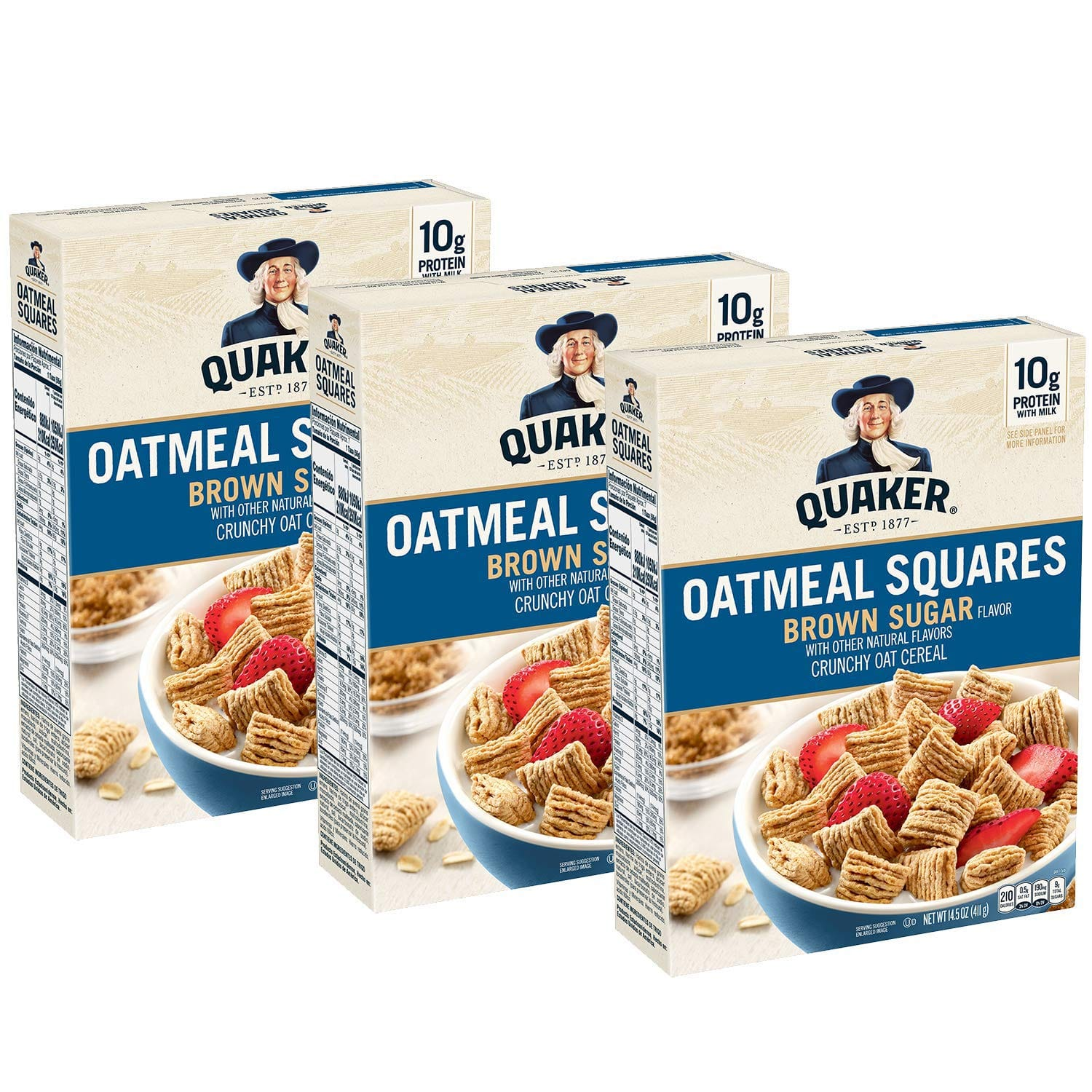 3-Pack 14.5-Oz Quaker Oatmeal Squares Cereal (Brown Sugar) $5.82 ($1.94 each) w/ S&S + Free Shipping w/ Prime or on orders over $25