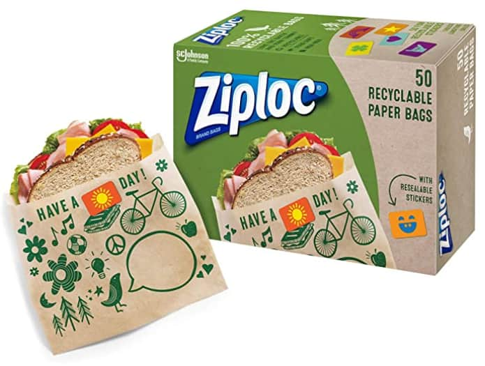 50-Count Ziploc Recyclable and Sealable Paper Sandwich Bags $3.89 w/ S&S + Free Shipping w/ Prime or on orders over $25