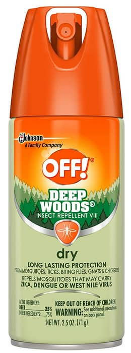 2.5-Oz OFF! Deep Woods Dry Aerosol Insect Repellent (Lemon) $2.54 + Free Shipping w/ Prime or on orders over $25
