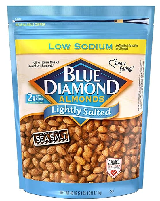 40-Oz Blue Diamond Almonds (Low Sodium, Lightly Salted) $10.98 + Free Shipping w/ Prime or on orders over $25