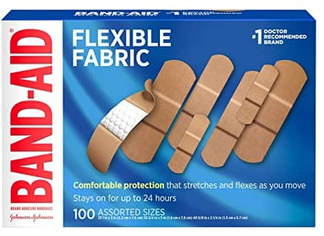 100-Count Band-Aid Flexible Fabric Adhesive Bandages (Assorted Sizes) $5.53 w/ S&S + Free Shipping w/ Prime or on orders over $25
