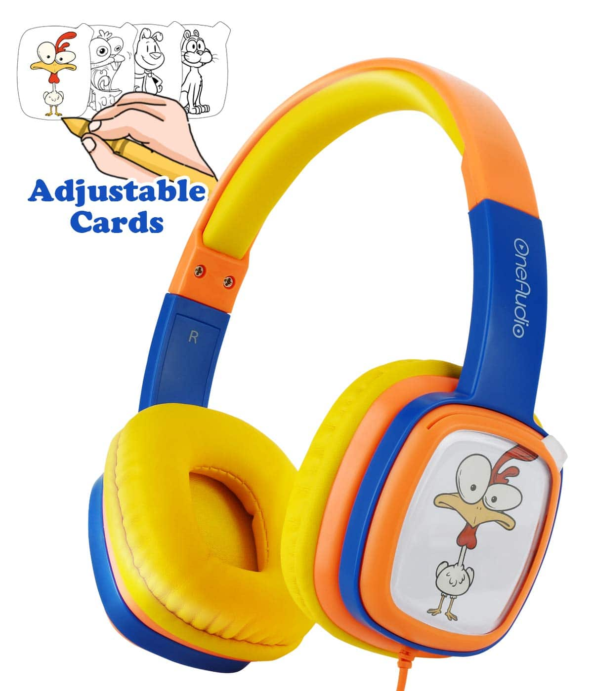 $8.44 Kids On-Ear Headphones Comfortable 85dB Volume Limiting Wired Headsets Lightweight Customizable Cartoon Painting DIY with 3.5mm Jack Christmas for Toddler/Children/Airplane
