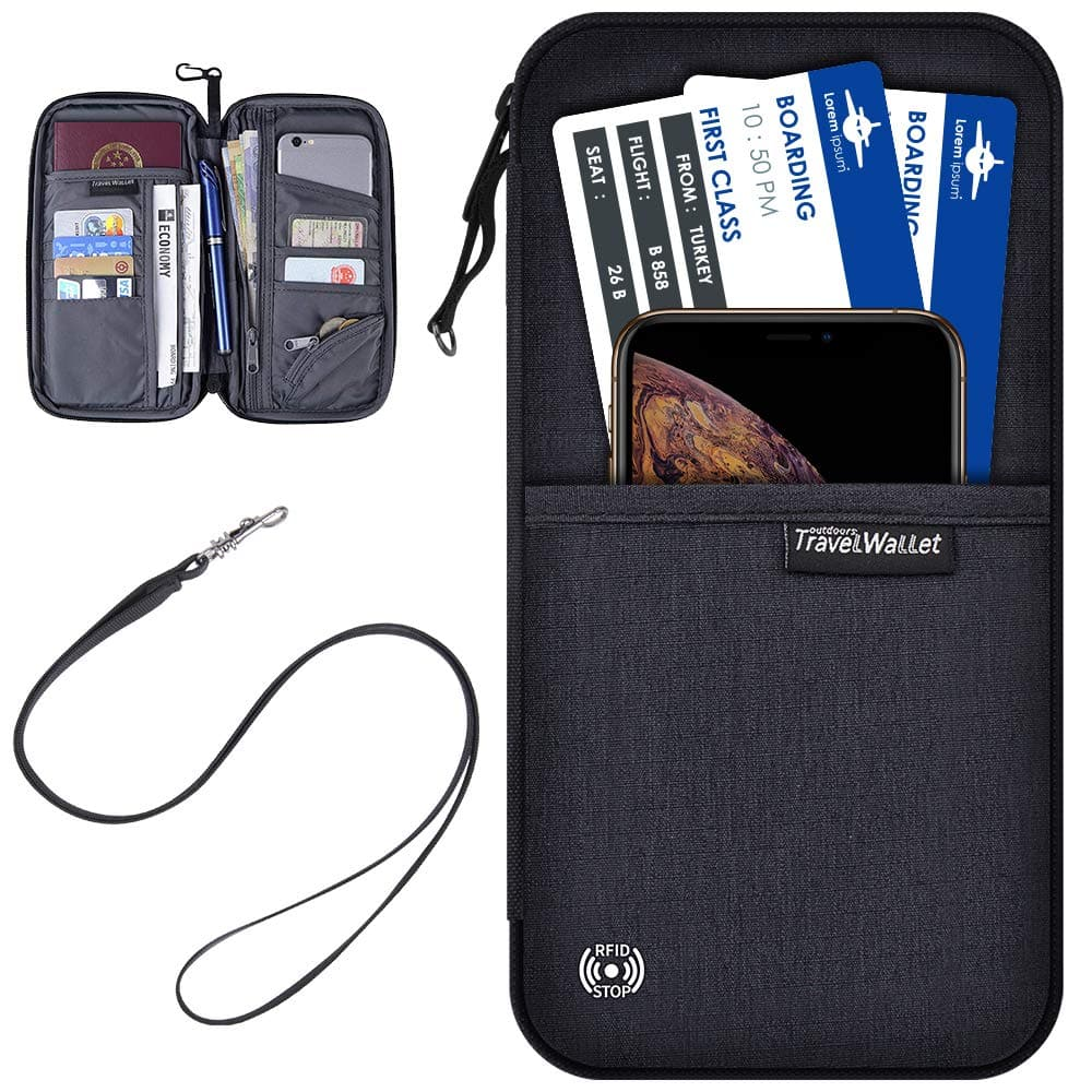 Passport Holder Travel Wallet Waterproof Neck Pouch RFID Blocking Document Organizer $6.94