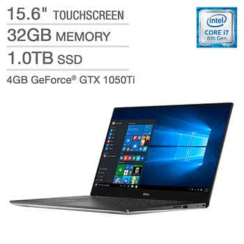 Dell XPS 15 Touchscreen Laptop - Intel Core i7 - 4K Ultra HD - GeForce GTX 1050 Ti $1849.99