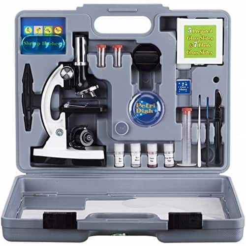 Amscope 300X-600X-1200X Metal Body Kids Student Beginner Biological Microscope Kit $28.4