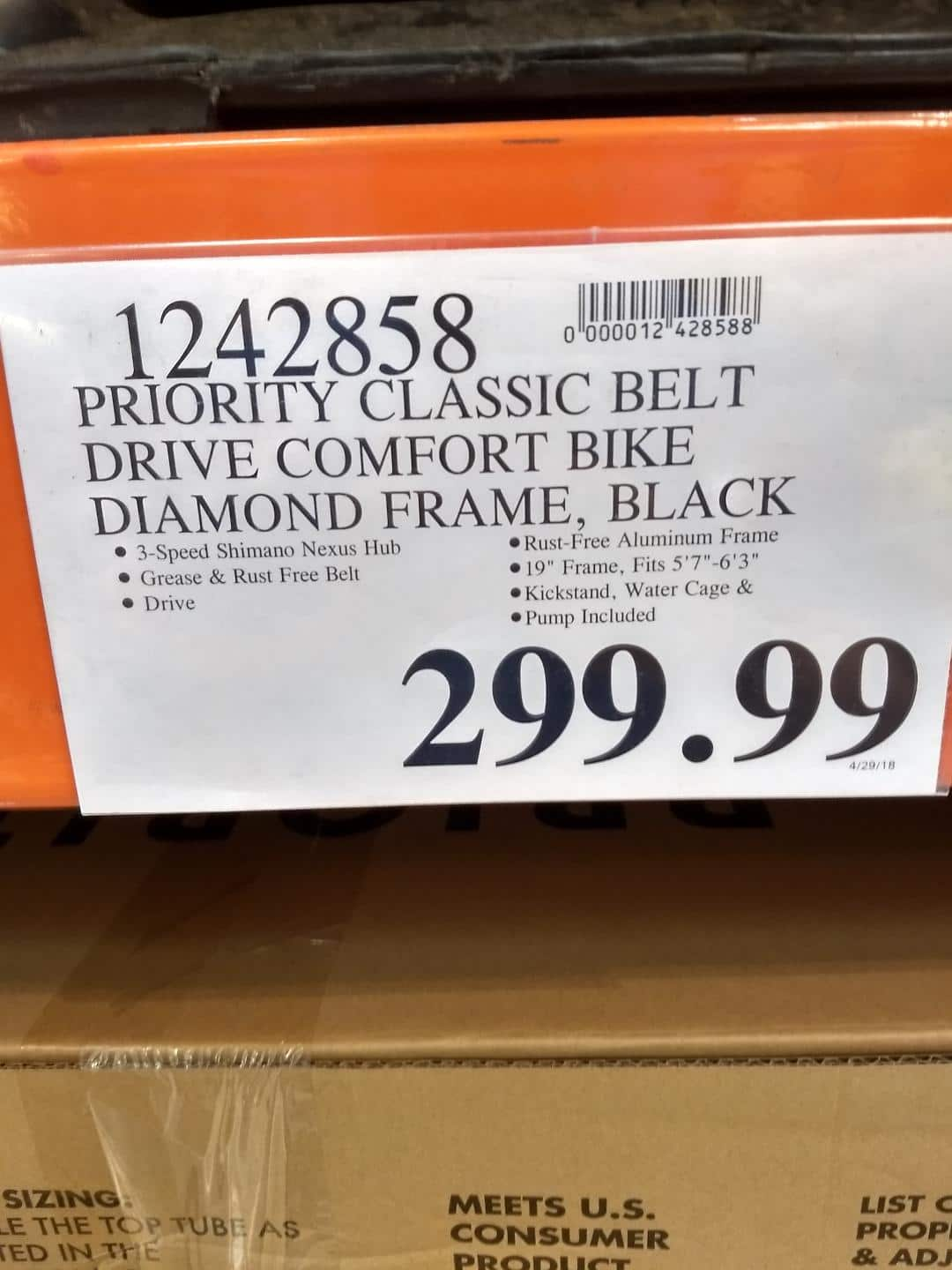 Priority Classic Belt Drive Bike $300 at Costco B&M