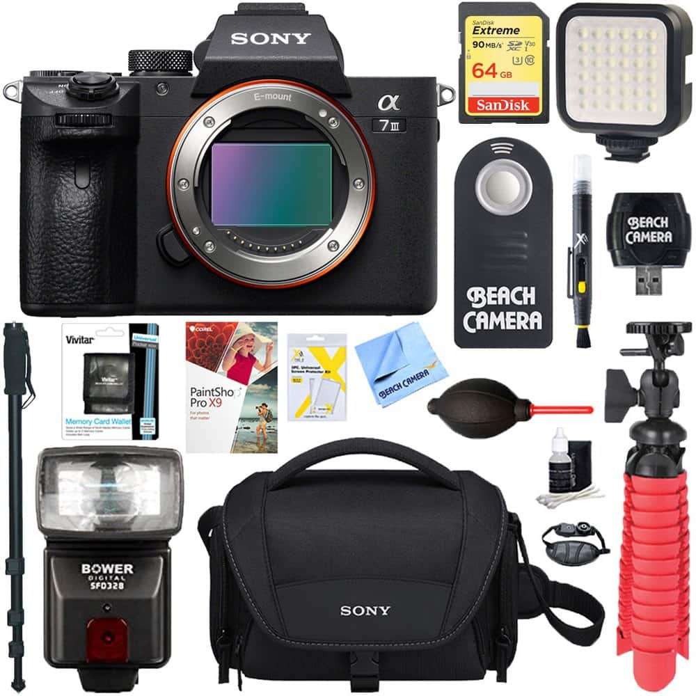 Sony A7III Mirrorless Camera Body Only + 64GB Memory and Flash Accessory Bundle for $1998 with $300 Rakuten Points Cash Back