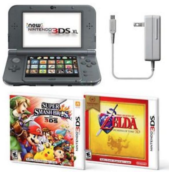 Nintendo 3DS XL w/ Super Smash + Zelda + AC Adapter: $199.97