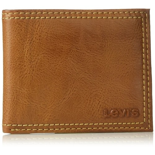 Levi's Men's Extra Capacity Leather Slimfold [Tan, One Size] $11