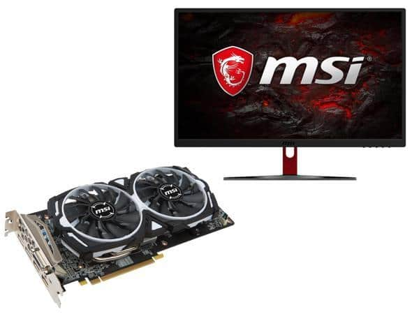 "MSI Radeon RX 580 DirectX 12 RX 580 ARMOR 4G and MSI Optix G24C Black & Red 24"" Curved 1080p 1ms (MPRT) 144Hz AMD FreeSync Curved Gaming Monitor $510"