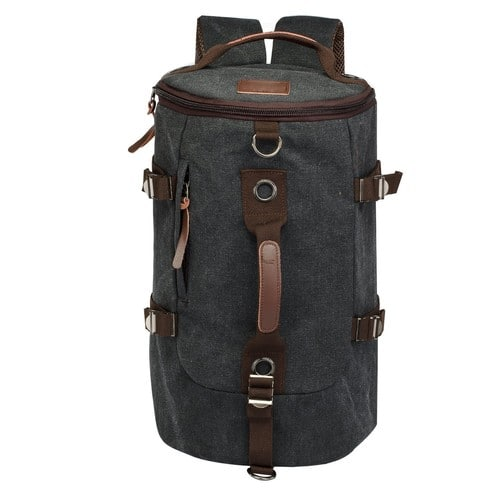 Retro Duffel Cylinder Bag Canvas Travel Backpack Luggage  [black, 26L] $17.91
